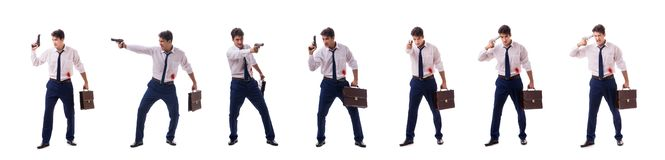The businessman wounded in gun fight isolated on white. Businessman wounded in gun fight isolated on white stock images