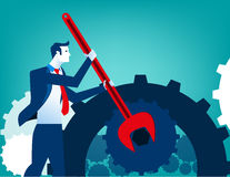 Businessman with wrench and cogs. Concept business illustration. Vector flat Royalty Free Stock Photo