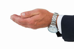 Businessman with wrist watch and hands out Stock Image