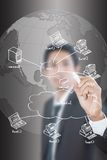 Businessman write LAN diagram on the whiteboard. Stock Photography