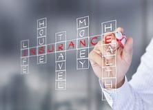 Businessman write life insurance concept. Businessman write life insurance, house insurance, home insurance, travel insurance, health insurance Royalty Free Stock Photos