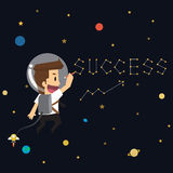 Businessman write succeed in the universe. Astronomy Royalty Free Stock Photo