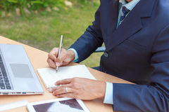 Businessman write success,Success concept write down Royalty Free Stock Photo