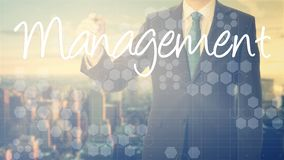 Businessman write on transparent board Management with sunset ov Royalty Free Stock Image