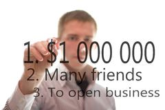 The businessman writes about business Royalty Free Stock Image
