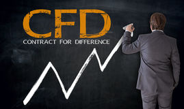 Businessman writing CFD on blackboard concept Stock Images