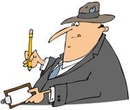 Businessman writing on a clipboard stock illustration