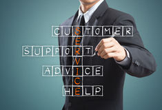 Businessman writing customer service concept Royalty Free Stock Images