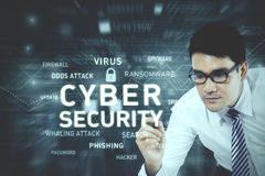 Businessman writing cyber security text Royalty Free Stock Image