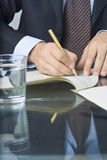 Businessman writing in a document Royalty Free Stock Images