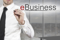 Businessman writing ebusiness Stock Photo