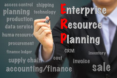 Businessman writing ERP concept. royalty free stock image