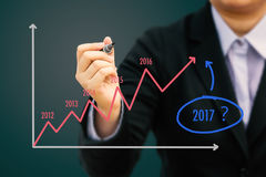 Businessman writing Estimate graph for year 2017 (Pastel tone). Royalty Free Stock Images
