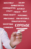 Businessman writing expense terms Stock Photo