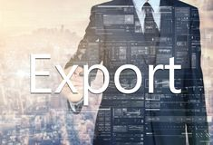 Businessman writing Export on transparent board with city in bac Stock Images
