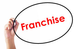Businessman writing Franchise word with pen Royalty Free Stock Images