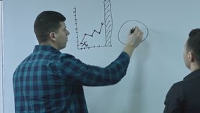 Businessman writing a function and putting his ideas on white board during a presentation. Sharing business ideas and stock video footage