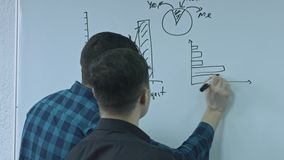 Businessman writing a function and putting his ideas on white board during a presentation. Sharing business ideas and. Strategy with coworker. Rear view stock video