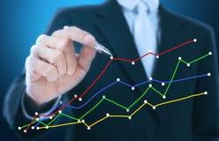 Businessman writing graph Royalty Free Stock Photos