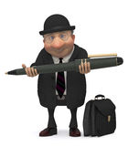 The businessman with the writing handle Stock Photo