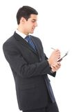 Businessman writing, isolated royalty free stock photo
