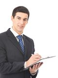 Businessman writing, isolated Stock Image