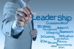 Businessman writing leadership skill diagram. On virtual board Stock Photos