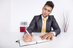 Businessman writing on the notepad Royalty Free Stock Images