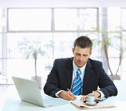 Businessman writing notes Royalty Free Stock Image