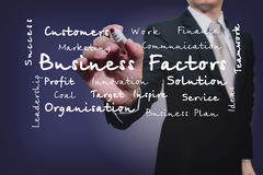 Businessman Writing On The Screen.Business Factors Stock Photography