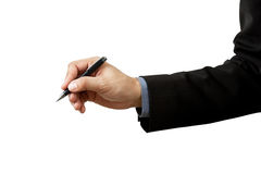 Businessman writing and pen Royalty Free Stock Images