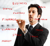 Businessman writing on the screen Royalty Free Stock Photos