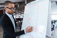 Businessman writing something on the flipchart Stock Photo