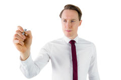 Businessman writing something with pen Royalty Free Stock Photography