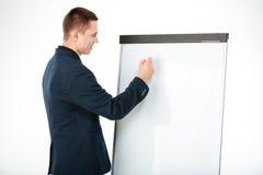 Businessman writing something on whiteboard Royalty Free Stock Photo