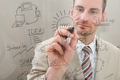 Businessman writing start up planning Royalty Free Stock Photos