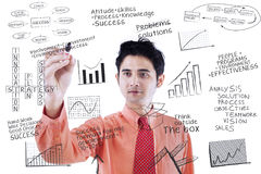 Businessman writing success concept on whiteboard Stock Image