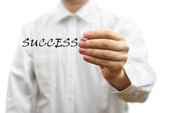 Businessman writing success word virtual Royalty Free Stock Photography