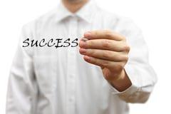 Businessman writing success word virtual Royalty Free Stock Photography