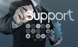 Businessman writing support concept Royalty Free Stock Images