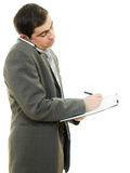 Businessman writing on the tablet pen Royalty Free Stock Images