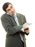 Businessman writing on the tablet pen Stock Images