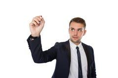 Businessman writing into virtual screen Stock Image