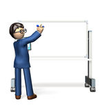 Businessman is writing on a whiteboard. Stock Image