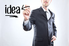 Businessman writing the word idea Royalty Free Stock Image