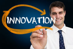Businessman writing the word innovation Royalty Free Stock Images