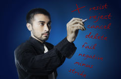 Businessman writing words Royalty Free Stock Photography