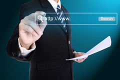 Businessman writting website for search something Royalty Free Stock Images