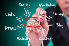 Businessman writing about SEO Royalty Free Stock Photos