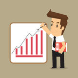Businessman wrote the arrow higher levels, earning more. Vector Stock Photography